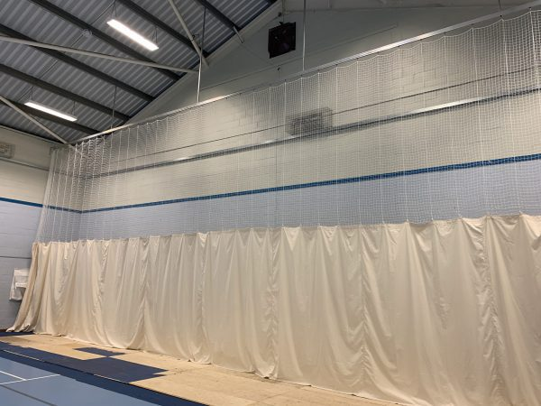 Sports hall bowler end netting