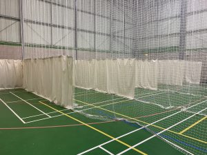Sports hall indoors cricket netting