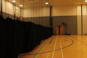 Sports hall netting installation